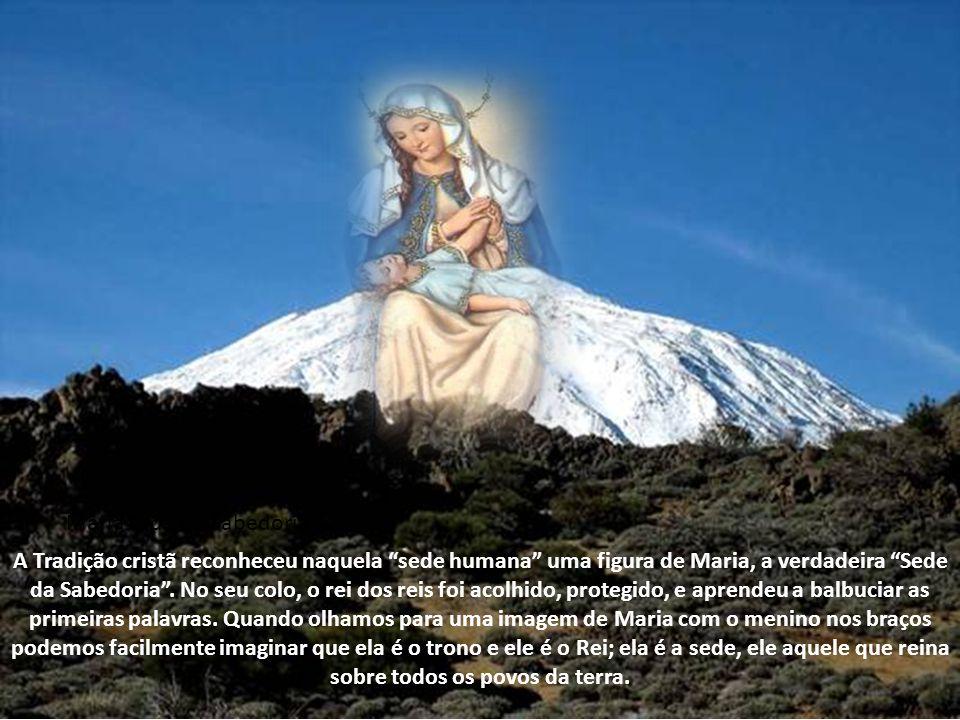 Maria sede da Sabedoria A Tradição cristã reconheceu naquela sede humana uma figura de Maria, a verdadeira Sede da Sabedoria.