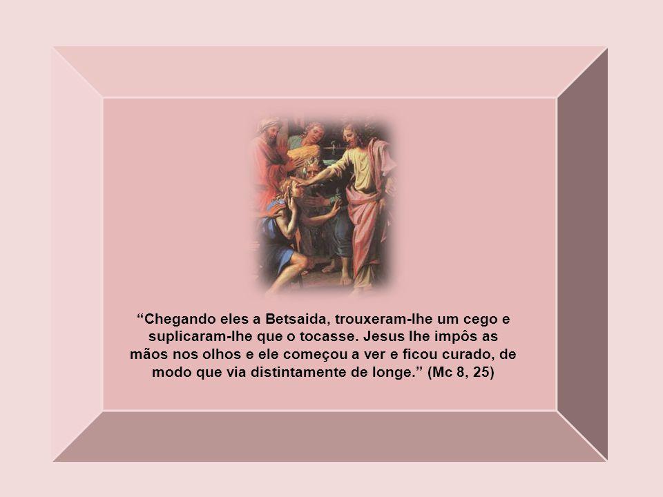 Chegando eles a Betsaida, trouxeram-lhe um cego e suplicaram-lhe que o tocasse.