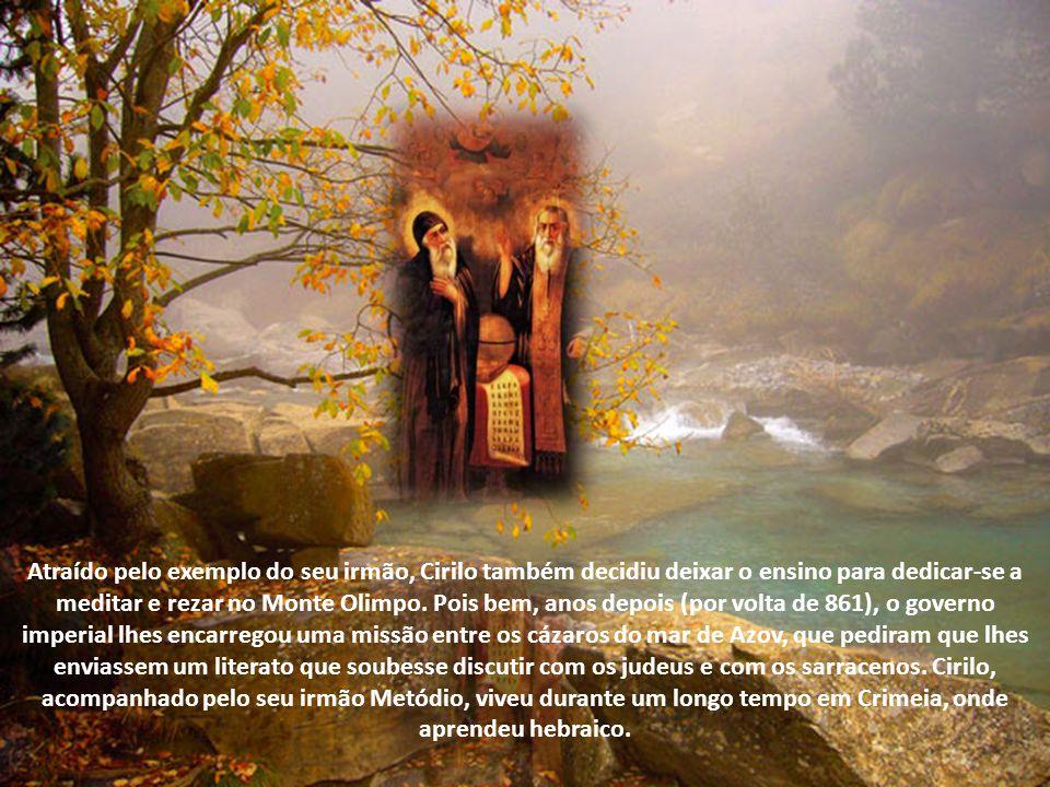 Enquanto isso, o irmão Miguel (nascido por volta do ano 815), após uma carreira na administração pública na Macedônia, por volta do ano 850 abandonou