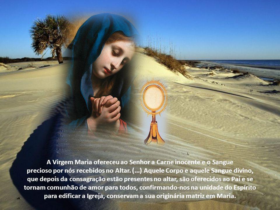 A Virgem Maria ofereceu ao Senhor a Carne inocente e o Sangue precioso por nós recebidos no Altar.