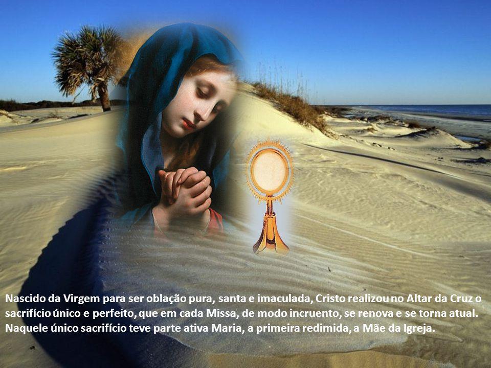 Nascido da Virgem para ser oblação pura, santa e imaculada, Cristo realizou no Altar da Cruz o sacrifício único e perfeito, que em cada Missa, de modo incruento, se renova e se torna atual.