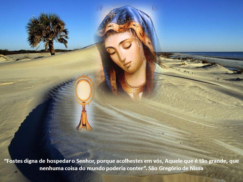 Cada Eucaristia é memorial daquele sacrifício e da Páscoa que de novo deu vida ao mundo; cada Missa põe-nos em íntima relação com ela, a Mãe, cujo sac