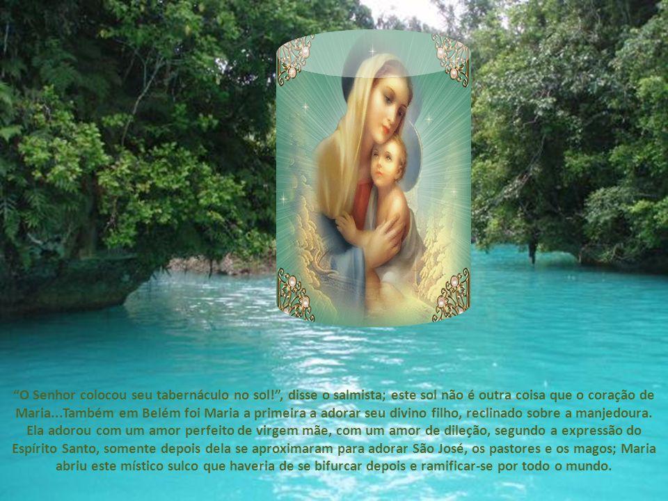 Foi Maria a primeira a adorar o verbo encarnado, quando, ignorado por todo mundo, se achava seguro em seu seio virginal.