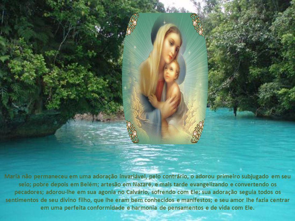 Que pensamentos tão sublimes, tão divinos, deviam se desenvolver em sua adoração, Maria continuou adorando a Nosso Senhor em sua vida oculta em Nazaré, depois em sua vida apostólica e até sobre o Calvário, onde sua adoração foi o sofrimento.