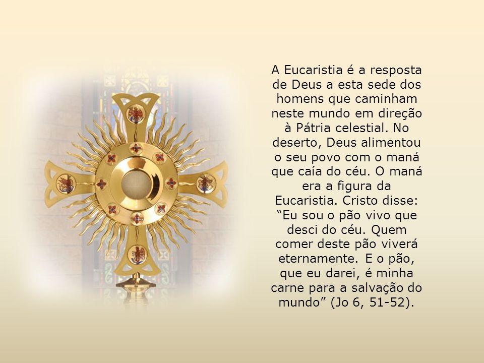 A Eucaristia é a resposta de Deus a esta sede dos homens que caminham neste mundo em direção à Pátria celestial.