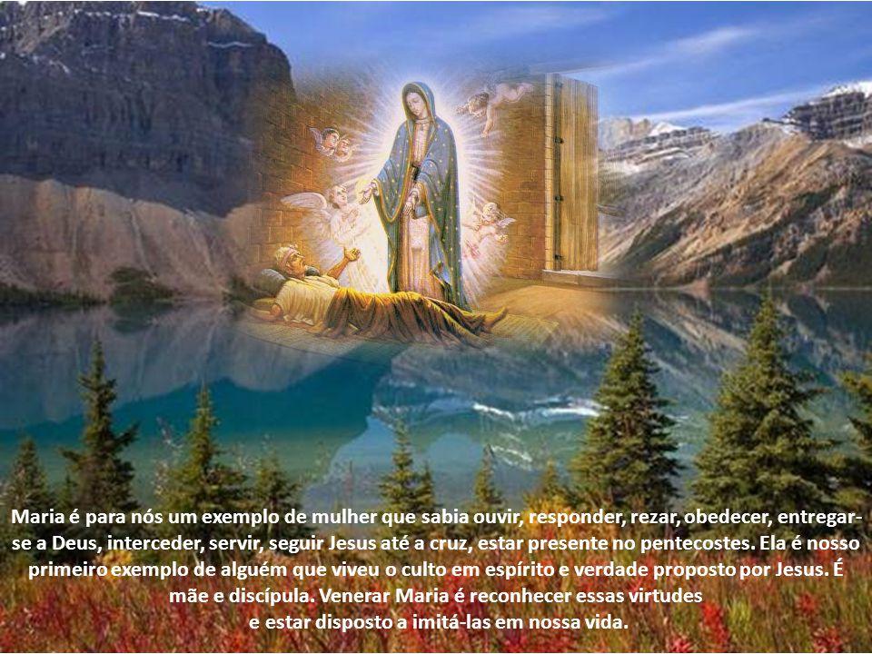 Venerar Maria não é adorar. É simplesmente elogiar a ação de Deus nesta criatura. Ela é a obra-prima do Criador. Como não reconhecer tamanha ação da g