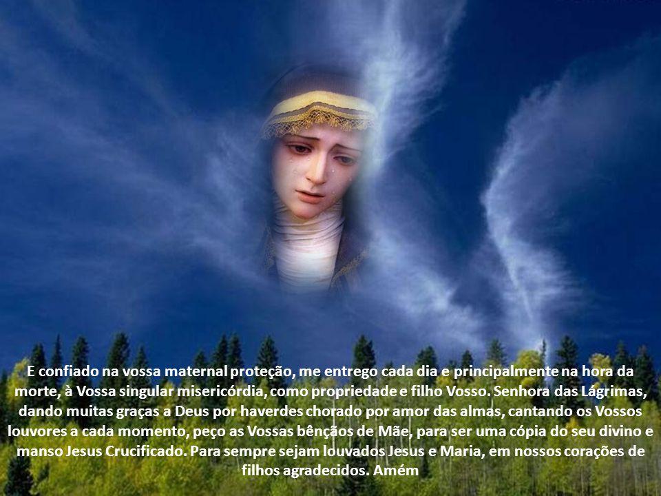 Mãe do Belo Amor, Vós chorastes porque muito me amavas, por isso, as Vossas Lágrimas sejam sempre o orvalho preciosismo e fonte de água viva para a minha alma de filho agradecido.