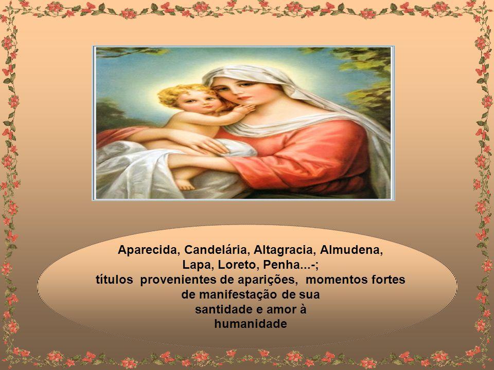 Auxiliadora, Alegria, Consolata, Piedade, Graças, Glória, Imaculado Coração...-; títulos ligados a Santuários e imagens especiais.