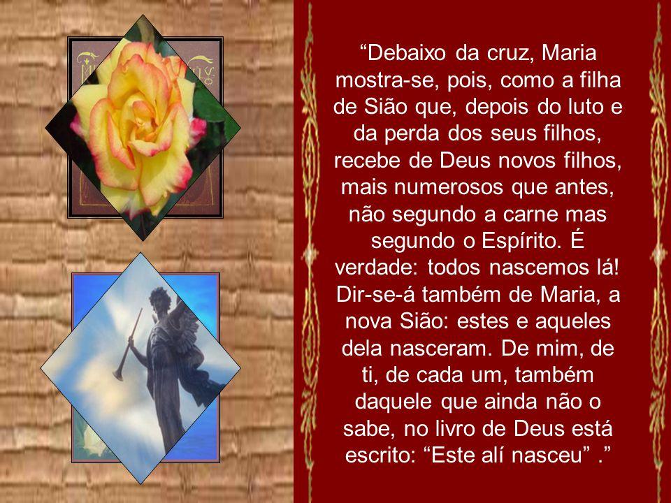 Debaixo da cruz, Maria mostra-se, pois, como a filha de Sião que, depois do luto e da perda dos seus filhos, recebe de Deus novos filhos, mais numerosos que antes, não segundo a carne mas segundo o Espírito.