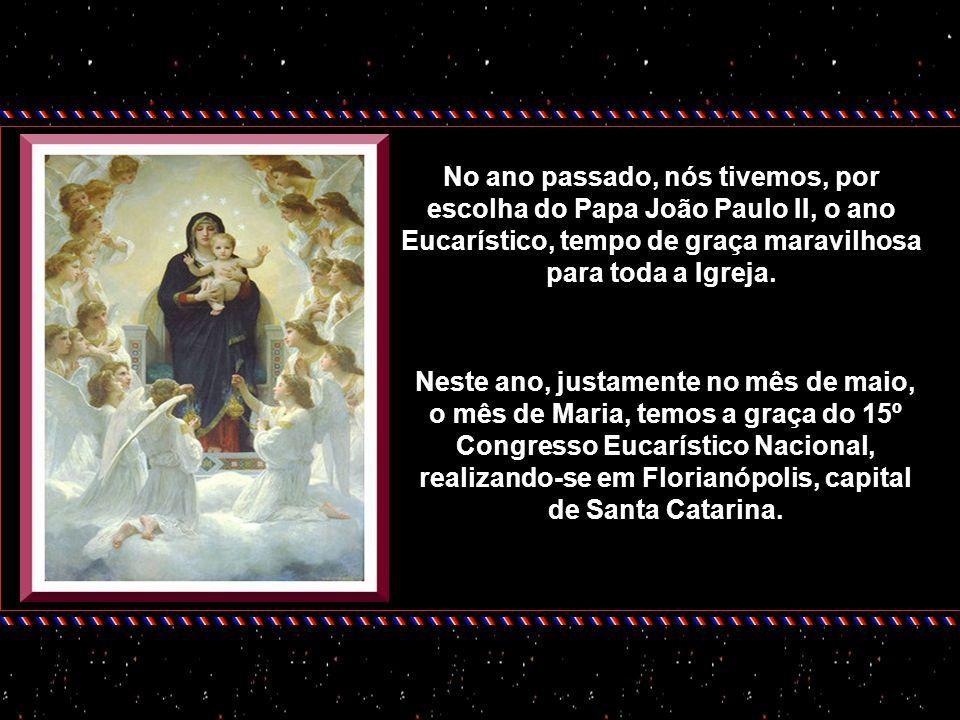 No momento em que o barco se posiciona entre Maria e a Eucaristia, a tempestade, num instante, se dissipa e os inimigos, que atacavam ferozmente o bar