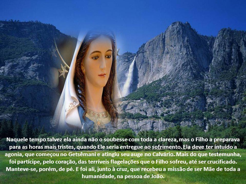 Chegado o tempo da vida pública, no qual Jesus começa a anunciar o Reino, Nossa Senhora deixa sua casinha e acompanha o Filho, dia e noite. O Evangelh
