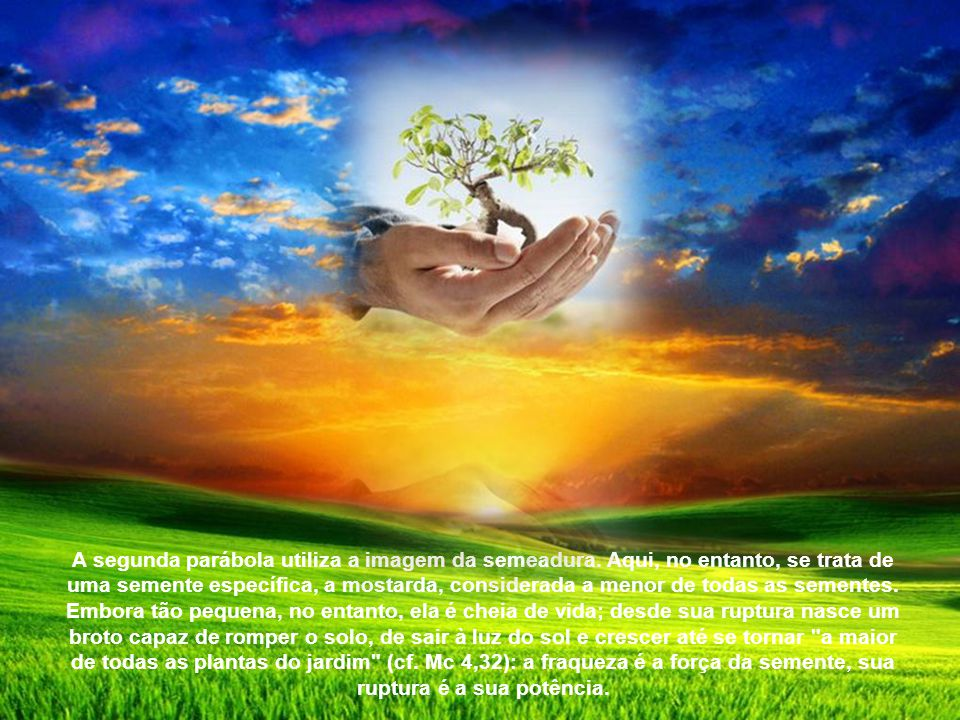 A segunda parábola utiliza a imagem da semeadura.