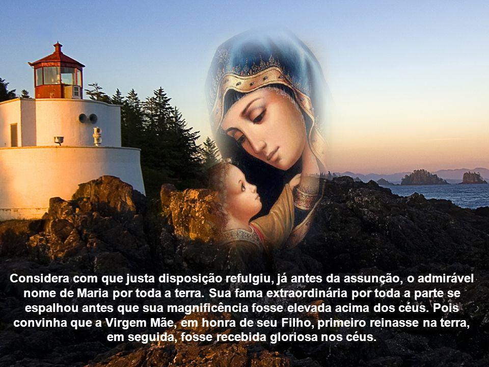 Considera com que justa disposição refulgiu, já antes da assunção, o admirável nome de Maria por toda a terra.