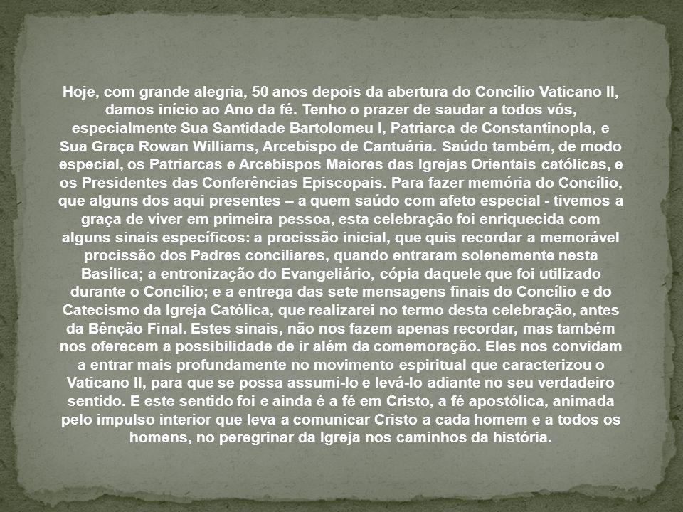 Texto – Cristo como o centro do cosmos e da história Homilia de Bento XVI na abertura do Ano da Fé CIDADE DO VATICANO, sábado, 13 de outubro de 2012(ZENIT.org) Imagem – Google Música – glória – Agnus Dei Formatação - Graziela