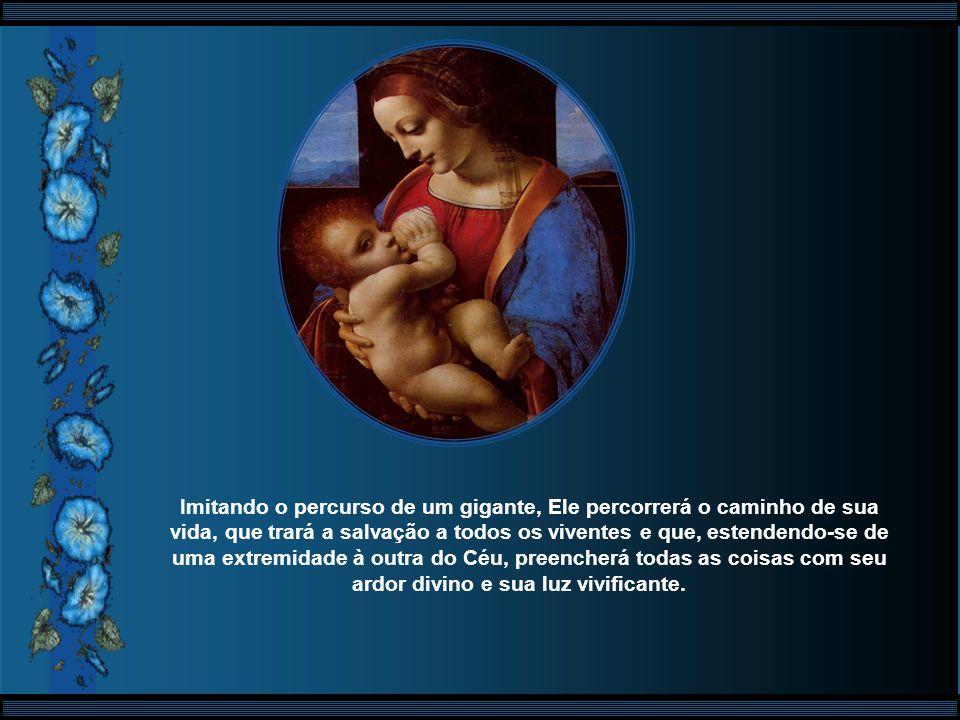 O próprio Deus habita carnalmente, em teu seio, e dele surge, como o esposo, para trazer a alegria e a luz divina aos homens. É em ti, ó Virgem, que D