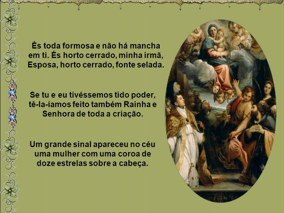 Mais que Ela, só Deus. A Santíssima Virgem, por ser Mãe de Deus, possui uma dignidade, de certo modo infinita, do bem infinito que é Deus. Não há peri