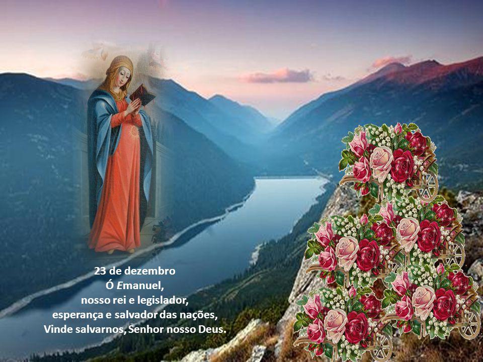 21 de dezembro Ó Oriente esplendor da luz eterna e sol da justiça. Vinde e iluminai os que estão sentados nas trevas e à sombra da morte. 22 de dezemb