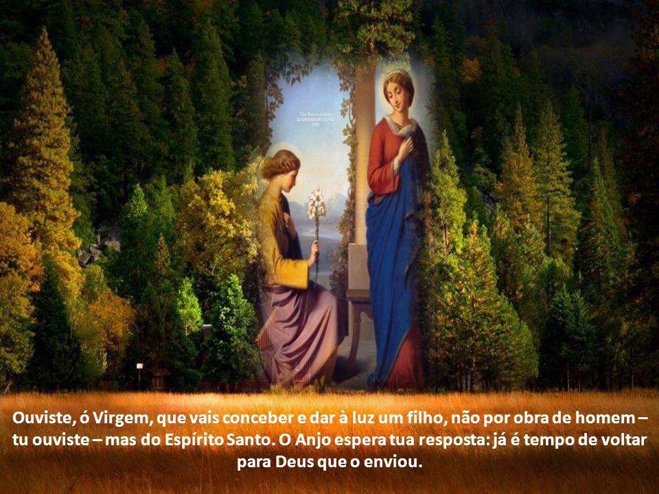O mundo inteiro espera a resposta de Maria Oração Senhor Deus, ao anúncio do Anjo, a Virgem imaculada acolheu vosso Verbo inefável e, como habitação da divindade, foi inundada pela luz do Espírito Santo.