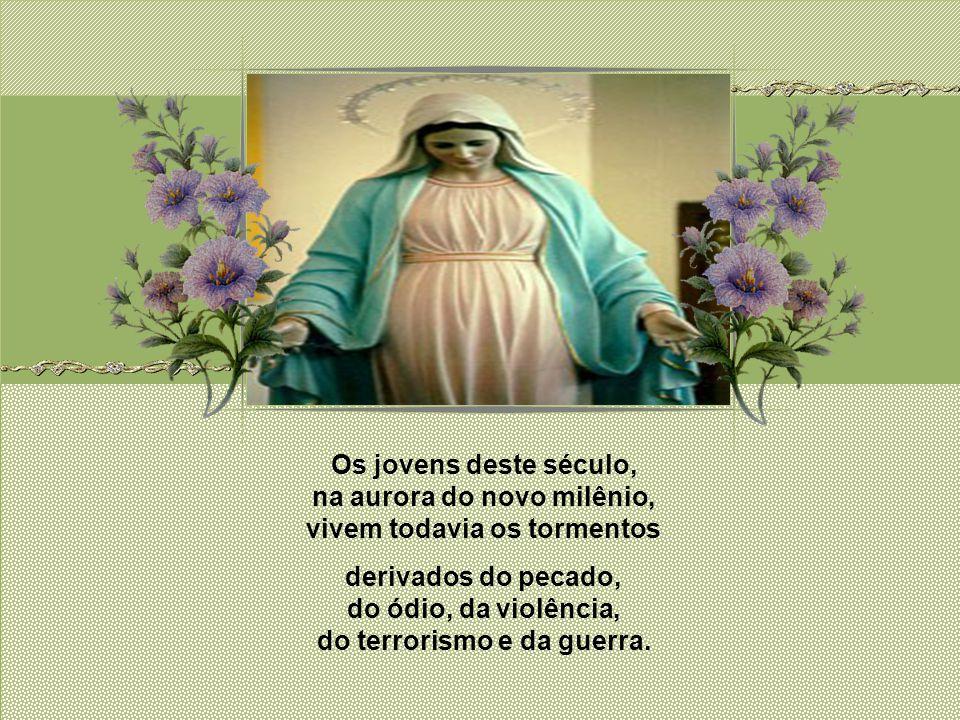 Sob teu manto, em tua proteção, Tu, Mãe da divina graça, faz-lhes resplandecer com a beleza de Cristo, eles buscam refúgio.