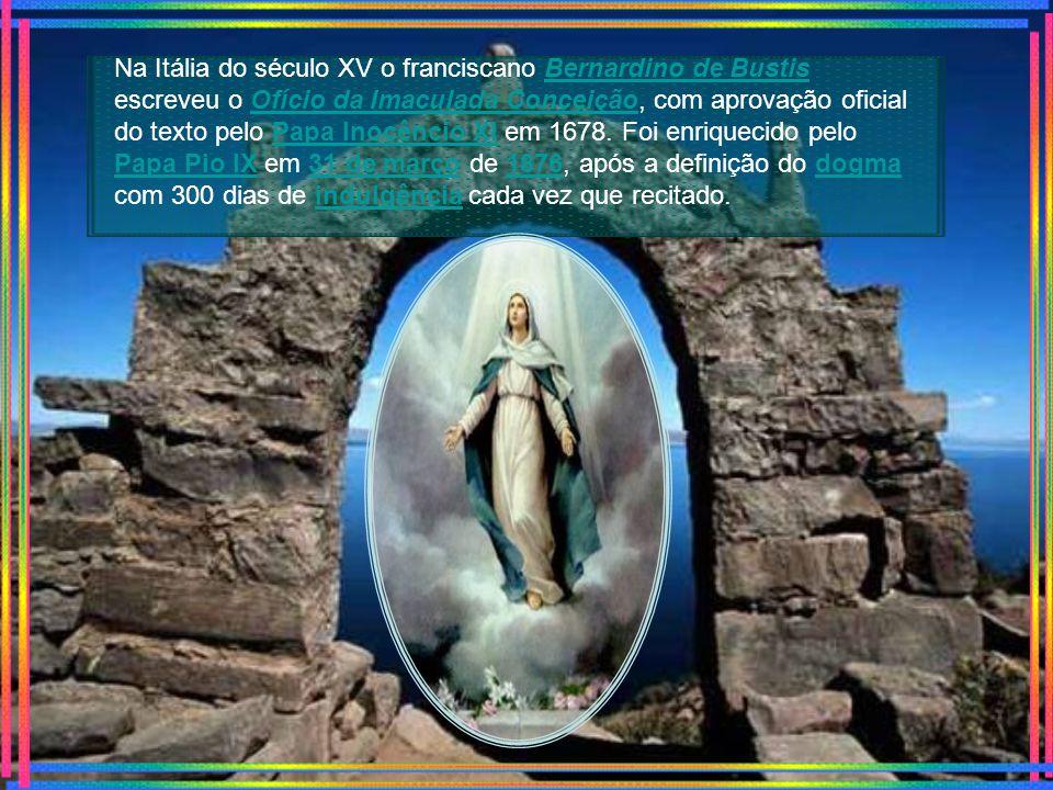 Já no século VIII se celebrava a festa litúrgica da Conceição de Maria aos 8 de dezembro ou nove meses antes da festa de sua natividade, comemorada no dia 8 de setembro.