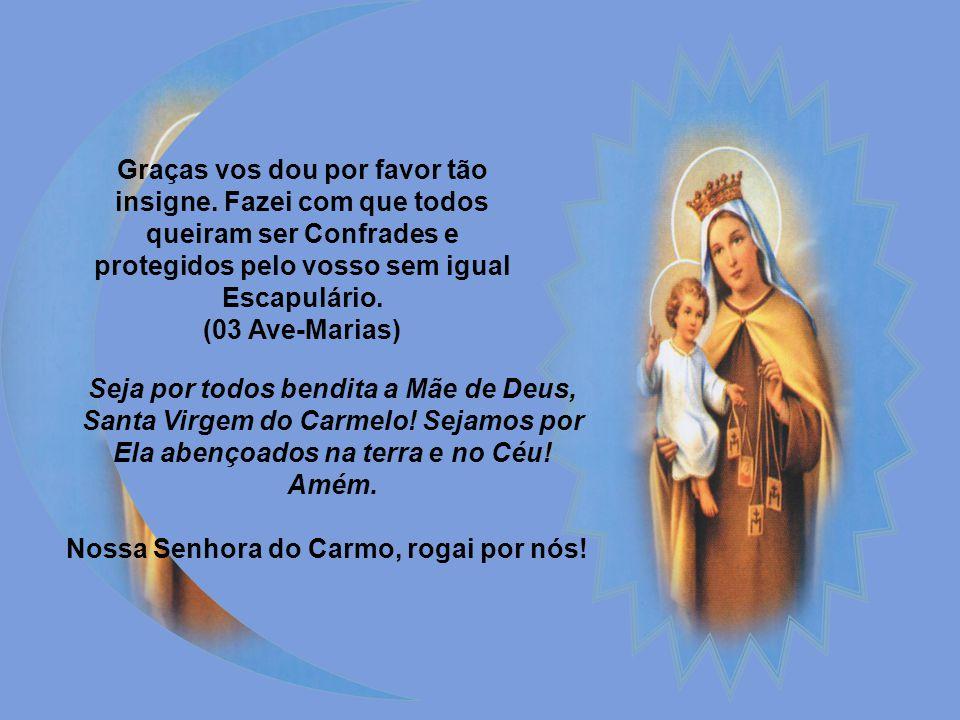 Virgem do Carmo, Maria Santíssima! Não vos contentando com as provas de amor dadas aos Carmelitas, quisestes outorgar-lhes ainda um dom singularíssimo