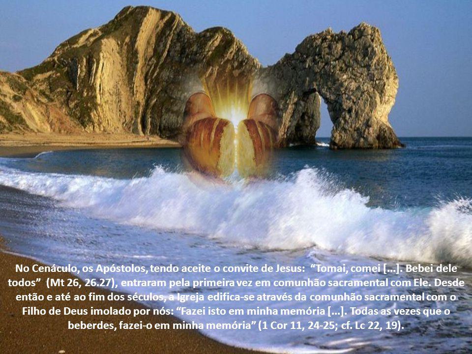 No Cenáculo, os Apóstolos, tendo aceite o convite de Jesus: Tomai, comei [...].