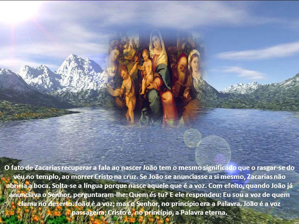 Zacarias cala-se e perde a fala até ao nascimento de João, o precursor do Senhor; e então recupera a fala.