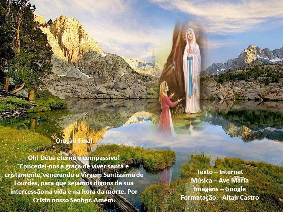 Nono Dia Oh! Virgem de Lourdes, rainha dos mártires e esperança dos aflitos! Pela heróica paciência que resplandeceu em todos os atos de vossa vida mo