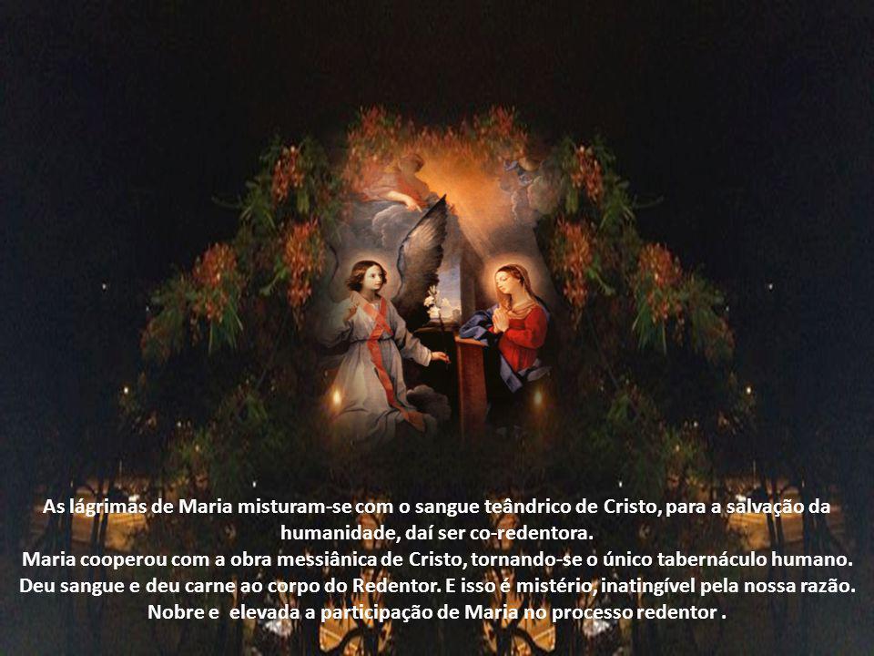 Maria aceita a missão, no anúncio do anjo, por isso ela oferece a Deus, com suas puríssimas mãos, a hóstia de propiciação pelas iniquidades do gênero