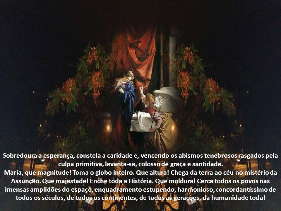Maria, concebida sem pecado, sobrepõe miraculosamente à grinalda de virgem a coroa de Mãe; torna-se lúcido assento e formoso habitáculo ao verbo Divin