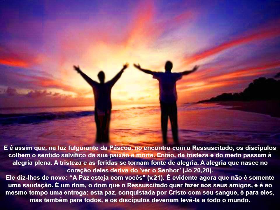 Depois desta saudação, Jesus mostra aos discípulos as feridas das mãos e do lado (Jo 20,20), sinais daquilo que aconteceu e jamais será apagado: a sua