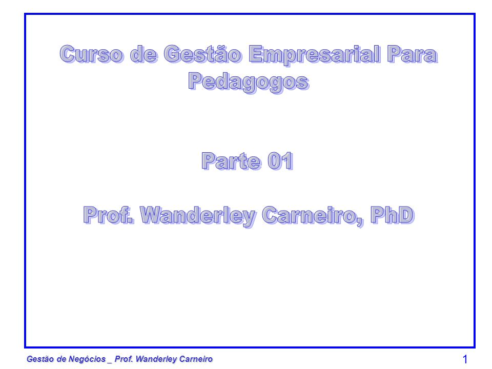 Gestão de Negócios _ Prof. Wanderley Carneiro 1