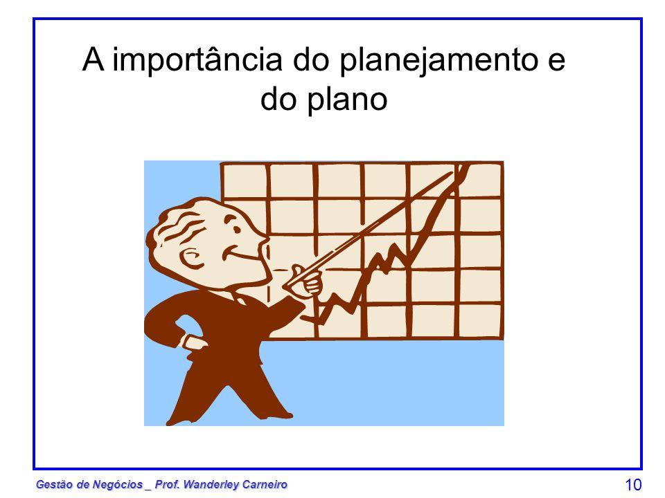 Gestão de Negócios _ Prof. Wanderley Carneiro 10 A importância do planejamento e do plano