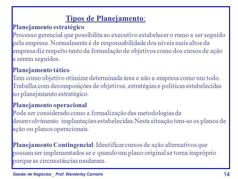 Gestão de Negócios _ Prof. Wanderley Carneiro 14 Tipos de Planejamento: Planejamento estratégico Processo gerencial que possibilita ao executivo estab