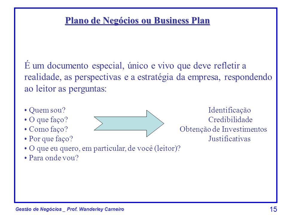 Gestão de Negócios _ Prof. Wanderley Carneiro 15 Plano de Negócios ou Business Plan É um documento especial, único e vivo que deve refletir a realidad