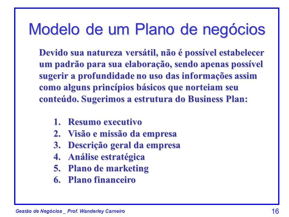 Gestão de Negócios _ Prof. Wanderley Carneiro 16 Modelo de um Plano de negócios Devido sua natureza versátil, não é possível estabelecer um padrão par