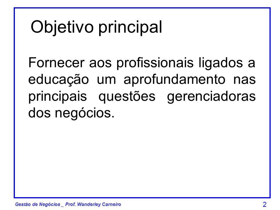 2 Fornecer aos profissionais ligados a educação um aprofundamento nas principais questões gerenciadoras dos negócios. Objetivo principal