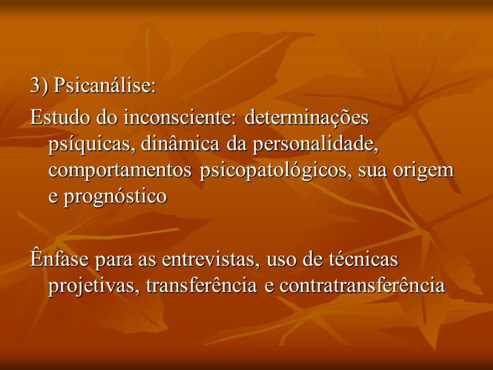 3) Psicanálise: Estudo do inconsciente: determinações psíquicas, dinâmica da personalidade, comportamentos psicopatológicos, sua origem e prognóstico