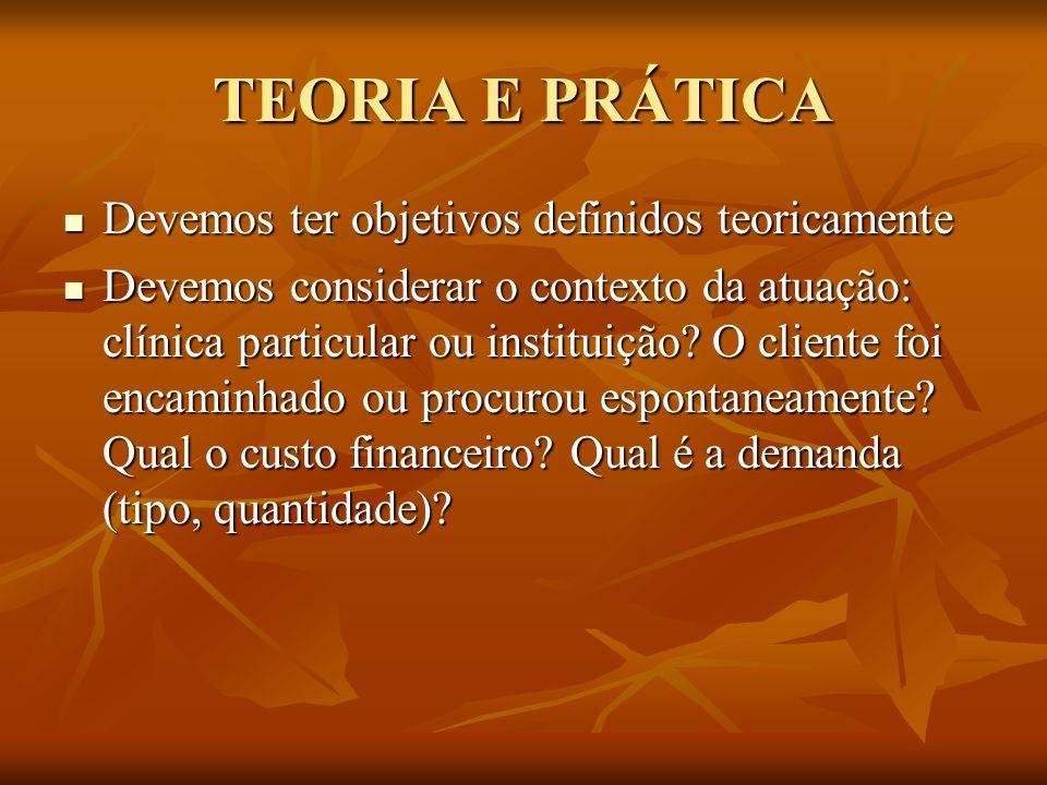 TEORIA E PRÁTICA Devemos ter objetivos definidos teoricamente Devemos ter objetivos definidos teoricamente Devemos considerar o contexto da atuação: c