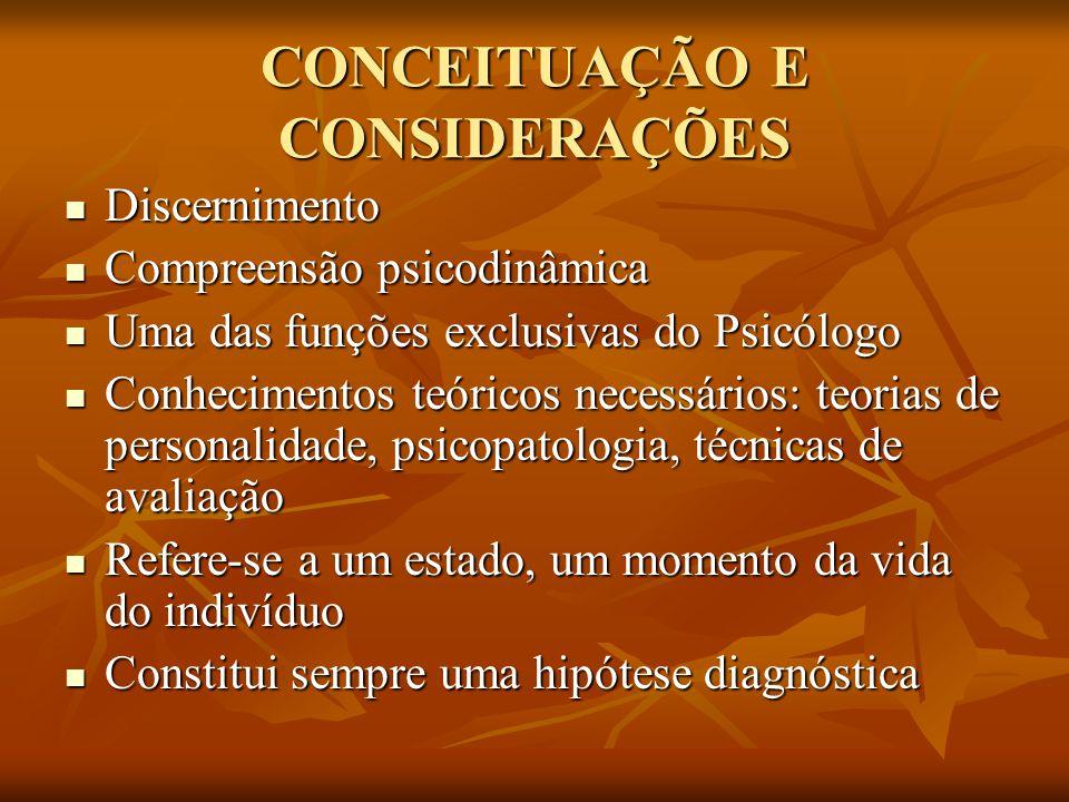 CONCEITUAÇÃO E CONSIDERAÇÕES Discernimento Discernimento Compreensão psicodinâmica Compreensão psicodinâmica Uma das funções exclusivas do Psicólogo U