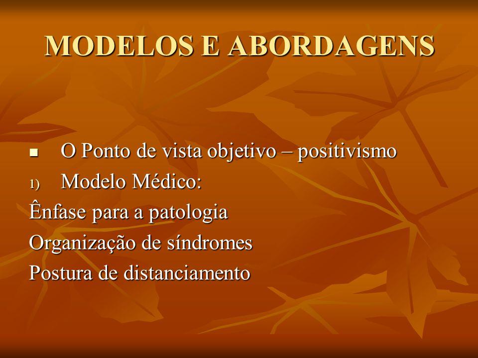 MODELOS E ABORDAGENS O Ponto de vista objetivo – positivismo O Ponto de vista objetivo – positivismo 1) Modelo Médico: Ênfase para a patologia Organiz