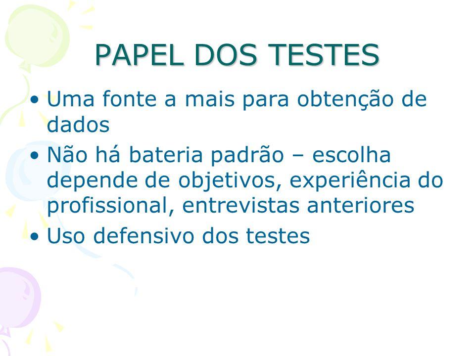 Não aplicar teste antes do favorecimento do vínculo Não é conveniente que se aplique um teste de inteligência antes de um projetivo Diferença entre técnicas projetivas e expressivas