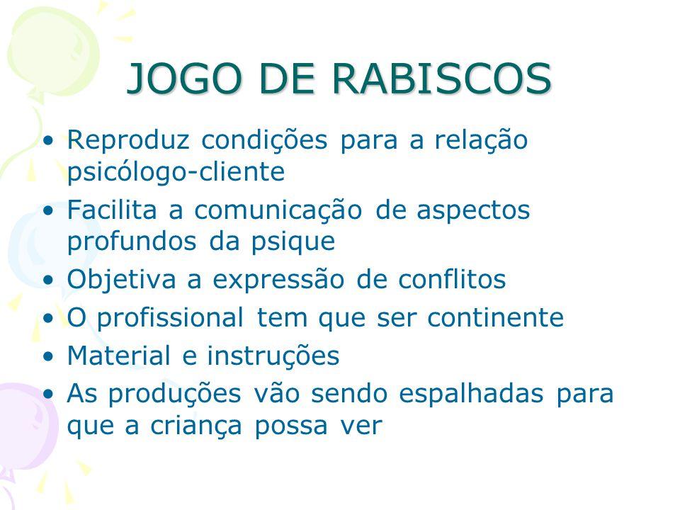 JOGO DE RABISCOS Reproduz condições para a relação psicólogo-cliente Facilita a comunicação de aspectos profundos da psique Objetiva a expressão de co
