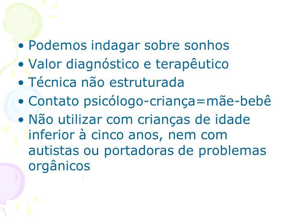 Podemos indagar sobre sonhos Valor diagnóstico e terapêutico Técnica não estruturada Contato psicólogo-criança=mãe-bebê Não utilizar com crianças de i