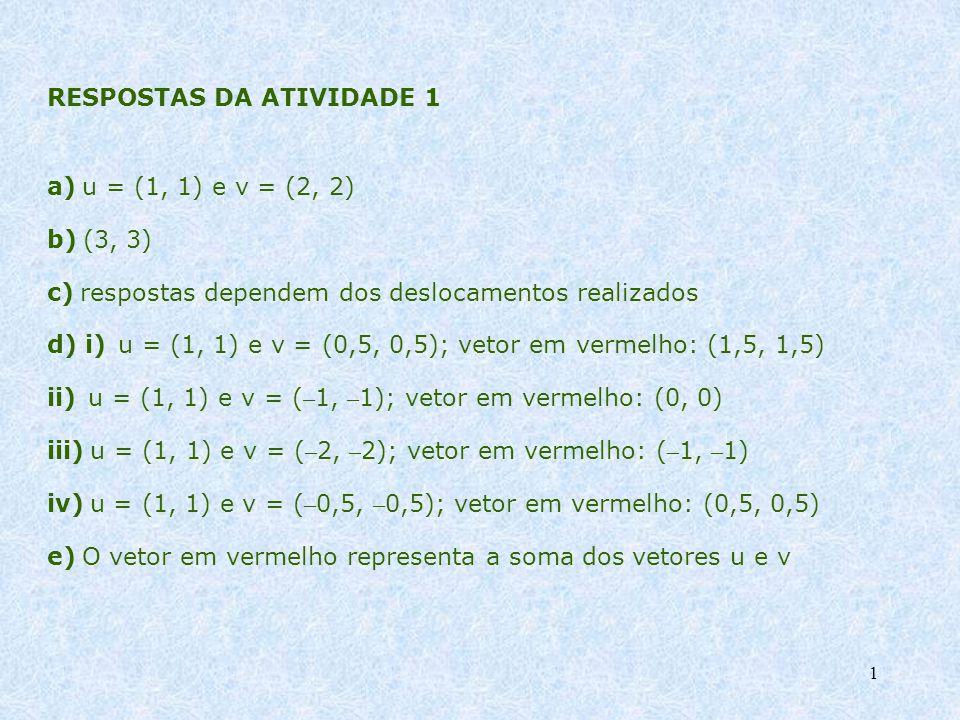 1 RESPOSTAS DA ATIVIDADE 1 a) u = (1, 1) e v = (2, 2) b) (3, 3) c) respostas dependem dos deslocamentos realizados d) i) u = (1, 1) e v = (0,5, 0,5);