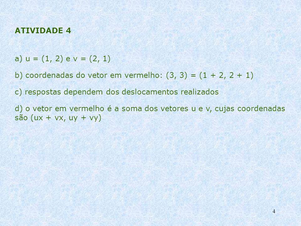 4 ATIVIDADE 4 a) u = (1, 2) e v = (2, 1) b) coordenadas do vetor em vermelho: (3, 3) = (1 + 2, 2 + 1) c) respostas dependem dos deslocamentos realizad