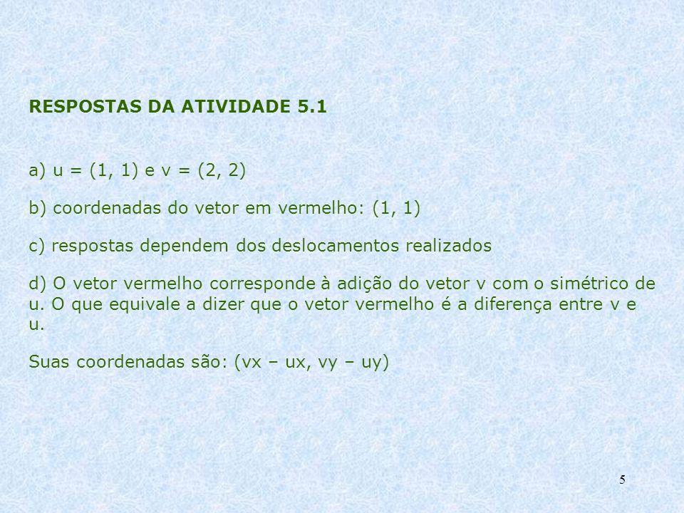 5 RESPOSTAS DA ATIVIDADE 5.1 a) u = (1, 1) e v = (2, 2) b) coordenadas do vetor em vermelho: (1, 1) c) respostas dependem dos deslocamentos realizados