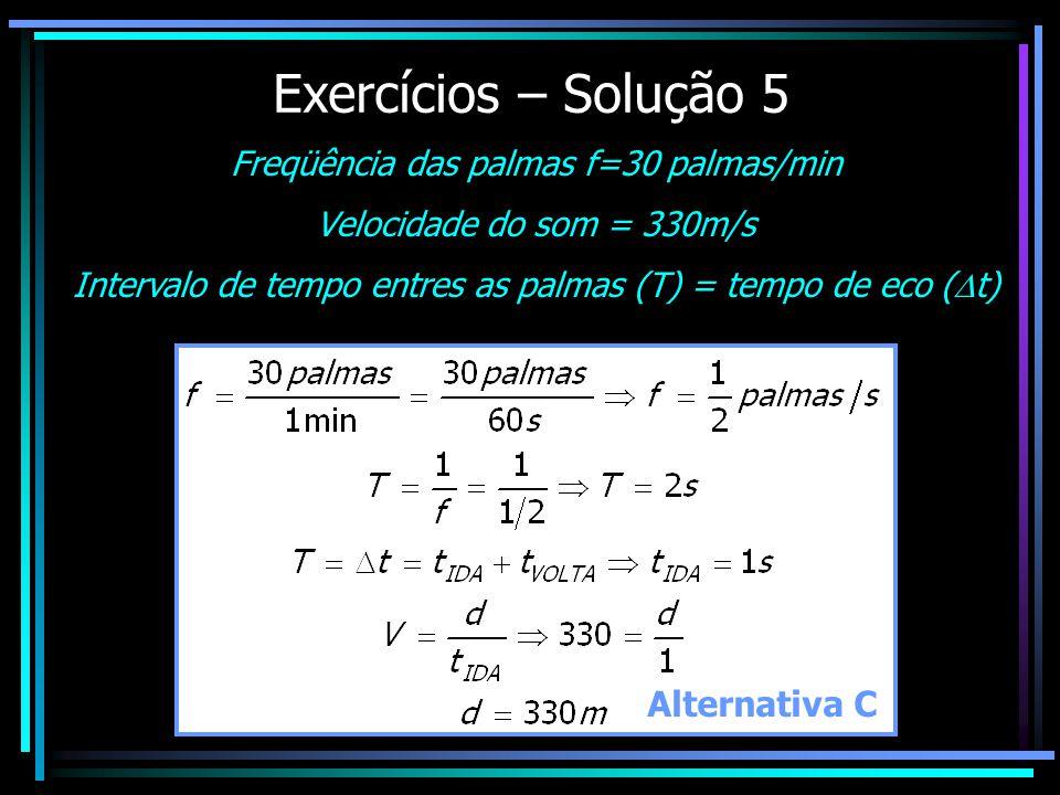Exercícios – Solução 5 Freqüência das palmas f=30 palmas/min Velocidade do som = 330m/s Intervalo de tempo entres as palmas (T) = tempo de eco ( t) Alternativa C