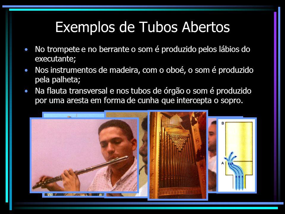 Exemplos de Tubos Abertos No trompete e no berrante o som é produzido pelos lábios do executante; Nos instrumentos de madeira, com o oboé, o som é produzido pela palheta; Na flauta transversal e nos tubos de órgão o som é produzido por uma aresta em forma de cunha que intercepta o sopro.
