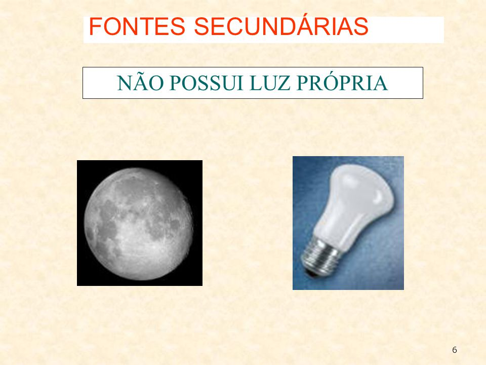 FONTES SECUNDÁRIAS NÃO POSSUI LUZ PRÓPRIA 6